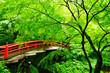 Leinwanddruck Bild - Red Bridge, Ikaho Onsen, Gunma, Japan