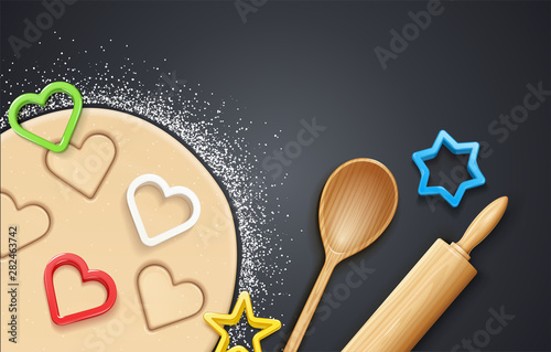 Tableau sur Toile Wooden rolling pin, kneading dough with flour and cookie cutter