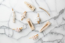 White Pearl Hair Clips On Marb...
