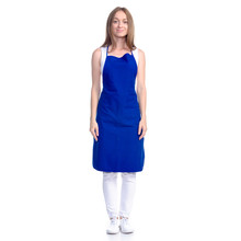 Woman In Blue Apron Smile On W...