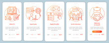 Job Searching Onboarding Mobile App Page Screen With Linear Concepts. Write CV, Apply Job, Interview, Getting Work Graphic Instructions. Steps Graphic Instructions. UX, UI, GUI Vector Template
