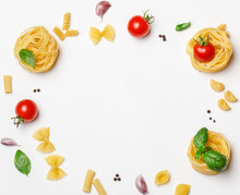 Various Uncooked Pasta On Whit...