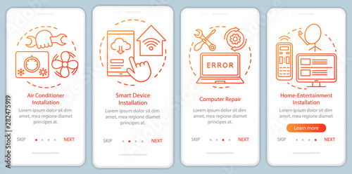 Photo  Home services for electronic devices onboarding mobile app page screen with linear concepts