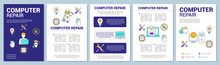 Computer Repair Brochure Template Layout. Flyer, Booklet, Leaflet Print Design With Linear Illustrations. Operating System Reinstall. Vector Page Layouts For Annual Reports, Advertising Posters