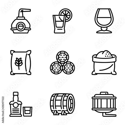 Photo Whiskey factory icon set
