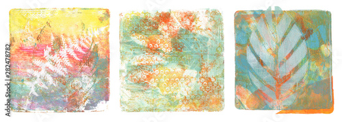 Abstract color acrylic and watercolor painting. Monotyping template. Canvas vintage grunge texture background. Square shape Isolated on white.