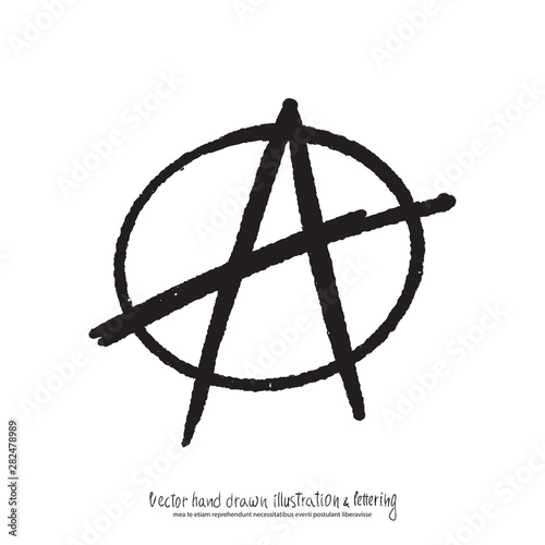 Valokuvatapetti Vector illustration of black hand drawn anarchy sign