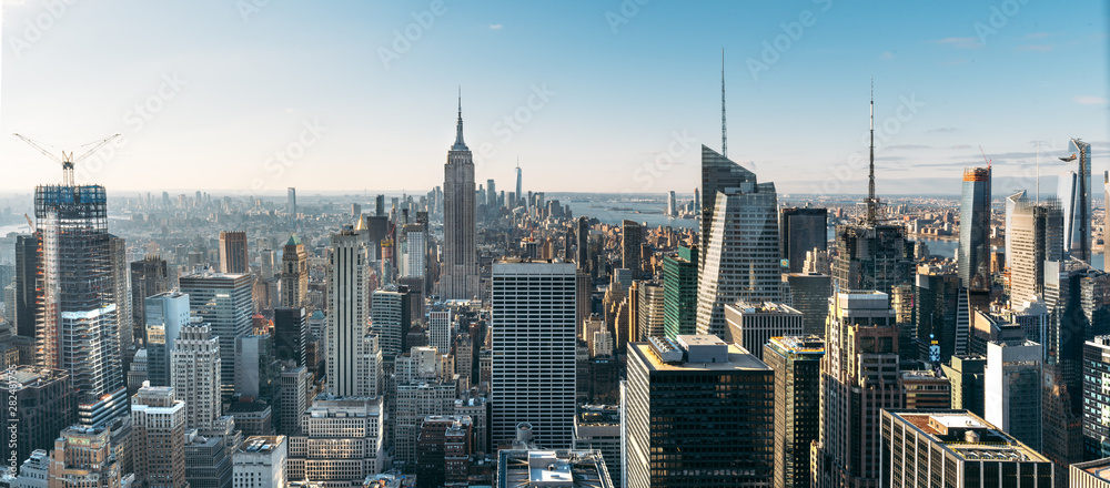 Aerial view of the large and spectacular buildings in New York City
