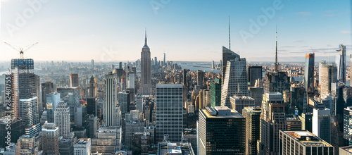Fototapeta Aerial view of the large and spectacular buildings in New York City