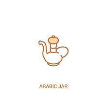 Arabic Jar Concept 2 Colored Icon. Simple Line Element Illustration. Outline Brown Arabic Jar Symbol. Can Be Used For Web And Mobile Ui/ux.