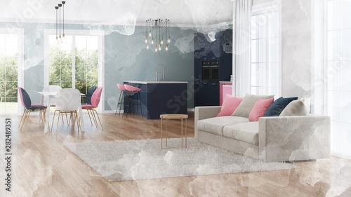 Foto auf AluDibond Gezeichnet Straßenkaffee Modern house interior. Pink kitchen. Watercolor. 3D rendering.