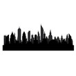 Black silhouette of city lanscape with skyscrapers on white, stock vector illustration