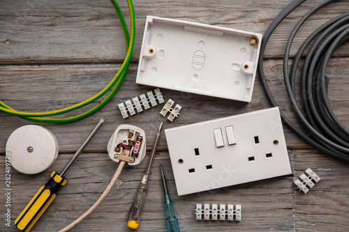 Recess Fitting Asia Country Electrical tools and equipment on a wooden background