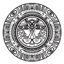Abstract Mandala Inca Maya Civilizations Graphic Design Decorative Elements Isolated On White   Color Background For Ancient Geometric Concepts