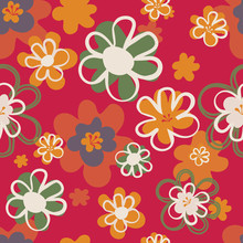Pretty Floral Seventies Seamle...