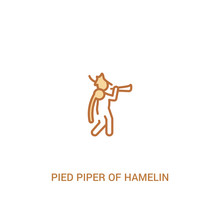 Pied Piper Of Hamelin Concept 2 Colored Icon. Simple Line Element Illustration. Outline Brown Pied Piper Of Hamelin Symbol. Can Be Used For Web And Mobile Ui/ux.