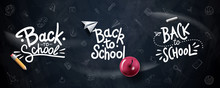 Back To School Typography. Vector Badges, Labels And Logos. School Background. Hand Drawn Lettering. Blackboard Background With Red Apple, Pencil, Paper Plane And Chalk.