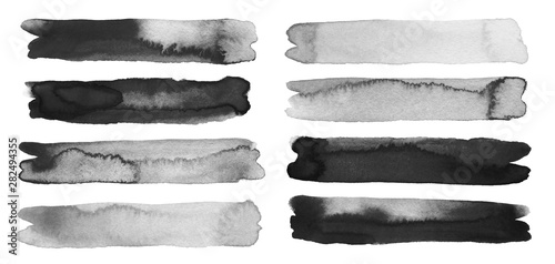 Abstract watercolor and acrylic line brush stroke blot painting. Color design element. Texture paper. Isolated on white background.