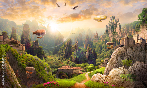 La pose en embrasure Beige Mural on the wall of a magical country with airships, an old estate