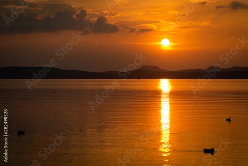 Canvas Print beautiful sunset at lake Balaton
