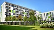 Leinwanddruck Bild - modern apartment building in the park