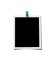 Photo Frame With Green Pin Isolated On White Background. Vector Design Element.