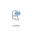 learning concept 2 colored icon. simple line element illustration. outline blue learning symbol. can be used for web and mobile ui/ux.