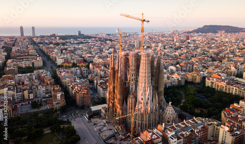 Barcelona, Spain - June 13, 2019: Aerial panorama view of Barcelona city skyline Canvas Print