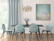 canvas print picture - Interior of modern dining room 3d rendering
