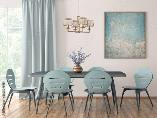 Fotomural  Interior of modern dining room 3d rendering