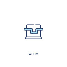 Worm Concept 2 Colored Icon. Simple Line Element Illustration. Outline Blue Worm Symbol. Can Be Used For Web And Mobile Ui/ux.