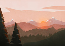 Idyllic, Tranquil Sunset View Over Mountain And Forest Landscape