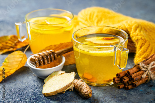 Recess Fitting Tea Fall immune system booster - ginger and turmeric tea and ingredients