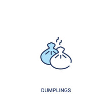 Dumplings Concept 2 Colored Icon. Simple Line Element Illustration. Outline Blue Dumplings Symbol. Can Be Used For Web And Mobile Ui/ux.