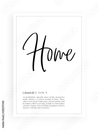 Minimalist Wording Design, Home definition, Wall Decor, Wall Decals Vector, Home Canvas Print
