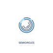 semicircles concept 2 colored icon. simple line element illustration. outline blue semicircles symbol. can be used for web and mobile ui/ux.