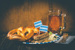 canvas print picture - October fest concept - traditional food and beer served at event