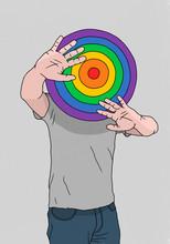 Man Hiding Behind Rainbow Dart...