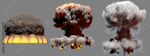 Photo 3D illustration of explosion - 3 huge different phases fire mushroom cloud explo