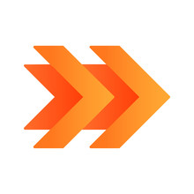 Double Orange Arrows Flat Design Long Shadow Color Icon. Fast Forward Right Arrowhead. Rewinding Button. Navigation Pointer, Indicator. Pointing Sign. Indicating Symbol. Vector Silhouette Illustration