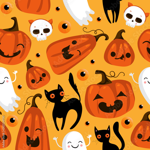 Foto op Aluminium Draw Halloween seamless pattern with cute pumpkins, black cat and other halloween elements. Halloween vector background. EPS 10