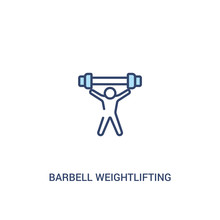 Barbell Weightlifting Concept 2 Colored Icon. Simple Line Element Illustration. Outline Blue Barbell Weightlifting Symbol. Can Be Used For Web And Mobile Ui/ux.