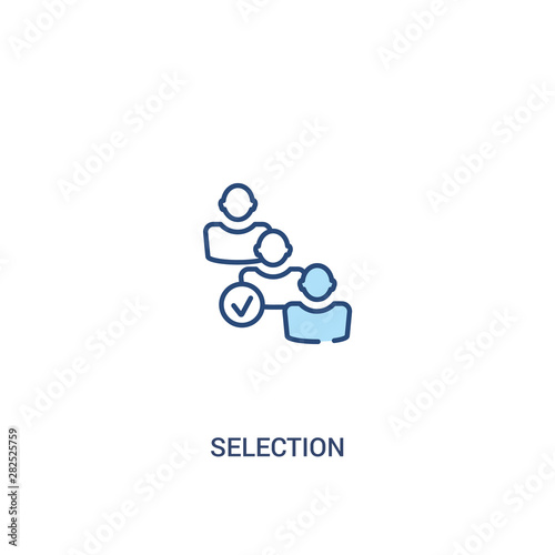 Fototapeta selection concept 2 colored icon. simple line element illustration. outline blue selection symbol. can be used for web and mobile ui/ux. obraz