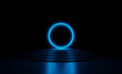 canvas print picture - Glowing blue neon laser circle on stage