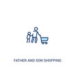 father and son shopping concept 2 colored icon. simple line element illustration. outline blue father and son shopping symbol. can be used for web and mobile ui/ux.