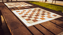 Empty Chess Board Outdoors On ...