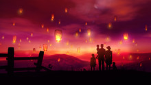 Family Watching At Flying Chinese Lanterns At Sunset
