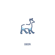 Deer Concept 2 Colored Icon. Simple Line Element Illustration. Outline Blue Deer Symbol. Can Be Used For Web And Mobile Ui/ux.