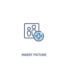 insert picture concept 2 colored icon. simple line element illustration. outline blue insert picture symbol. can be used for web and mobile ui/ux.