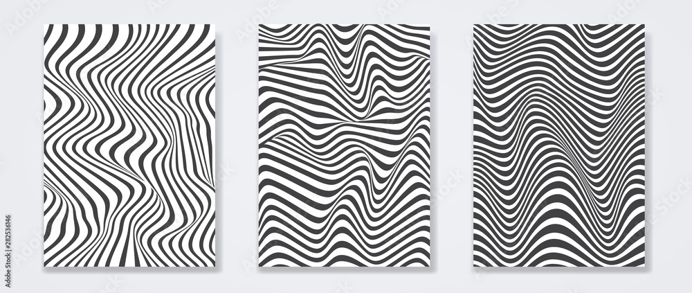 Fototapeta Set of minimal covers design. Wavy black and white on background. Vector illustration
